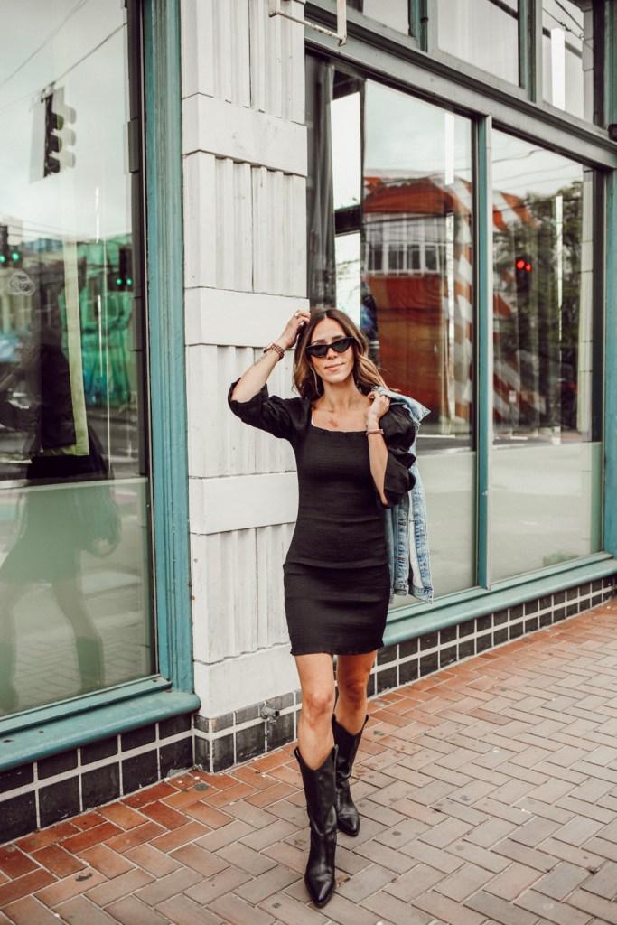 Seattle Fashion Blogger Sportsanista wearing SMOCK PUFF SLEEVE BODY-CON MINIDRESS and BAGGY TRUCKER DENIM JACKET