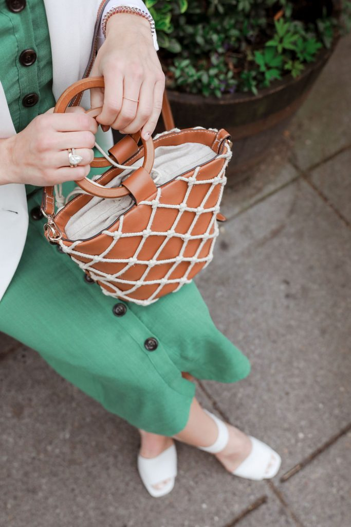 Seattle Fashion Blogger wearing Mango woven bag and White Sandals. Woven bag trend for summer.