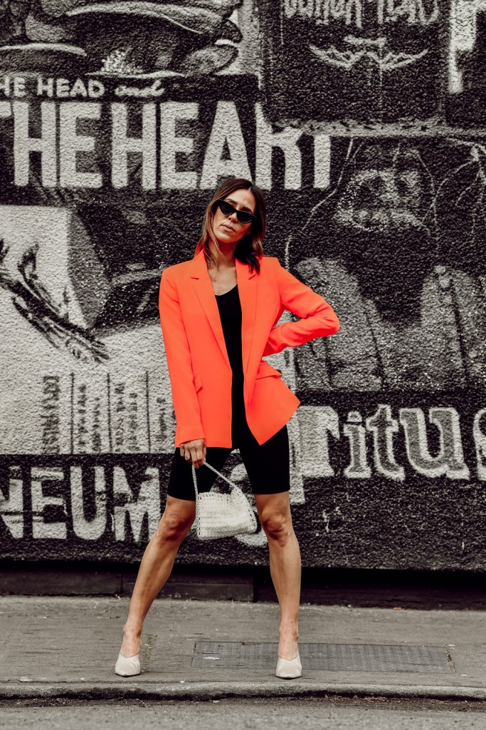 Seattle Fashion Blogger Sportsanista wearing Bardot Duchess Open Blazer and Sunset & Spring High-Rise Biker Shorts