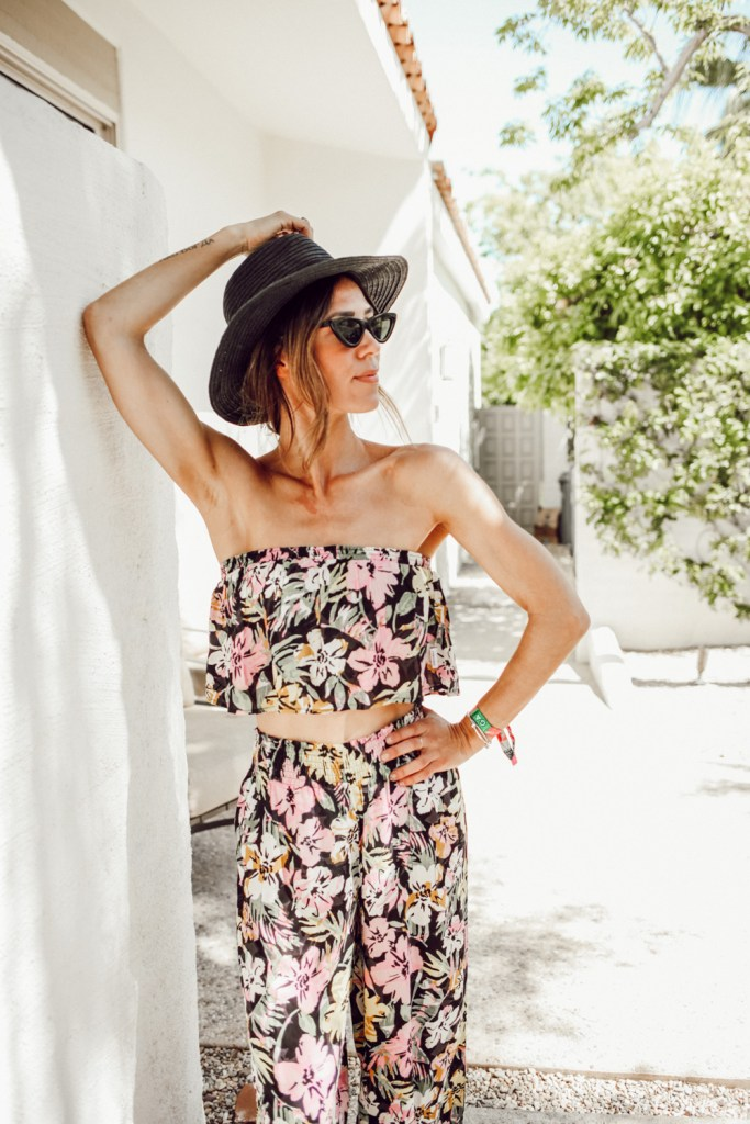 Seattle Fashion Blogger Sportsanista wearing Floral Twin Set and Madewell Packable Mesa Straw Hat. Palm Springs outfit