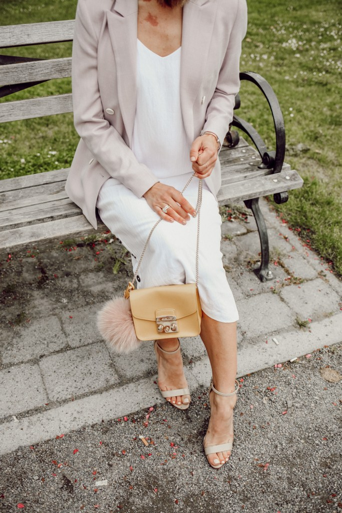 Seattle Fashion Blogger Sportsanista wearing FURLA Metropolis Mini Cross Body and Schutz Women's Cadey Lee Ankle Strap High-Heel Sandals