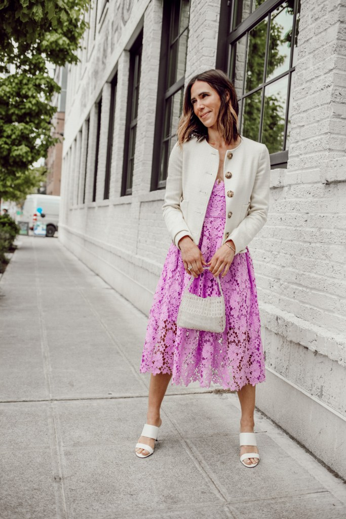 Seattle Fashion Blogger Sportsanista wearing Mother's Day Look with Donna Morgan Women's Chemical Lace Spaghetti Strap Midi Dress and Sam Edelman Violet Mini Bag