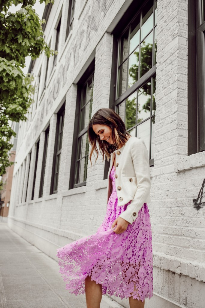 Seattle Fashion Blogger wearing Mother's Day look with Donna Morgan Women's Chemical Lace Spaghetti Strap Midi Dress and Burberry Cropped jacket