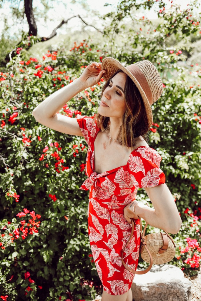 Seattle Fashion Blogger wearing J.O.A. Red Tropical Mini Dress at Loews Ventana Canyon