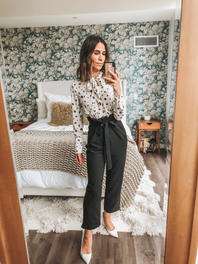 Seattle Fashion Blogger Sportsanista wearing animal print blouse and paper bag pants for a summer workwear look