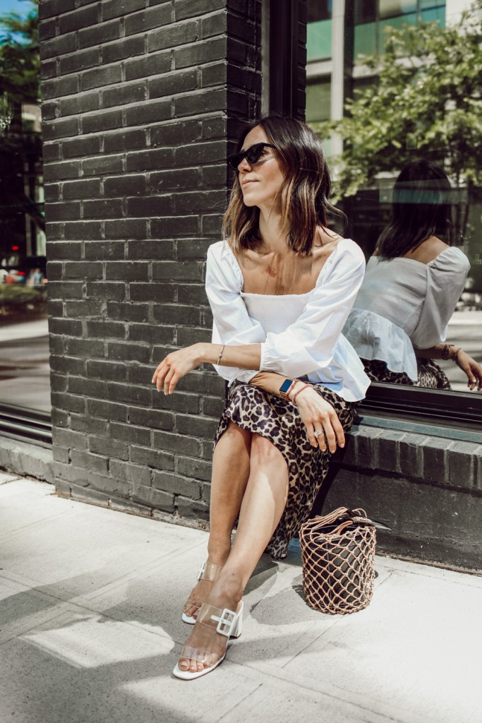 Seattle Fashion Blogger wearing Leopard Skirt and Clear Block Heel Sandals