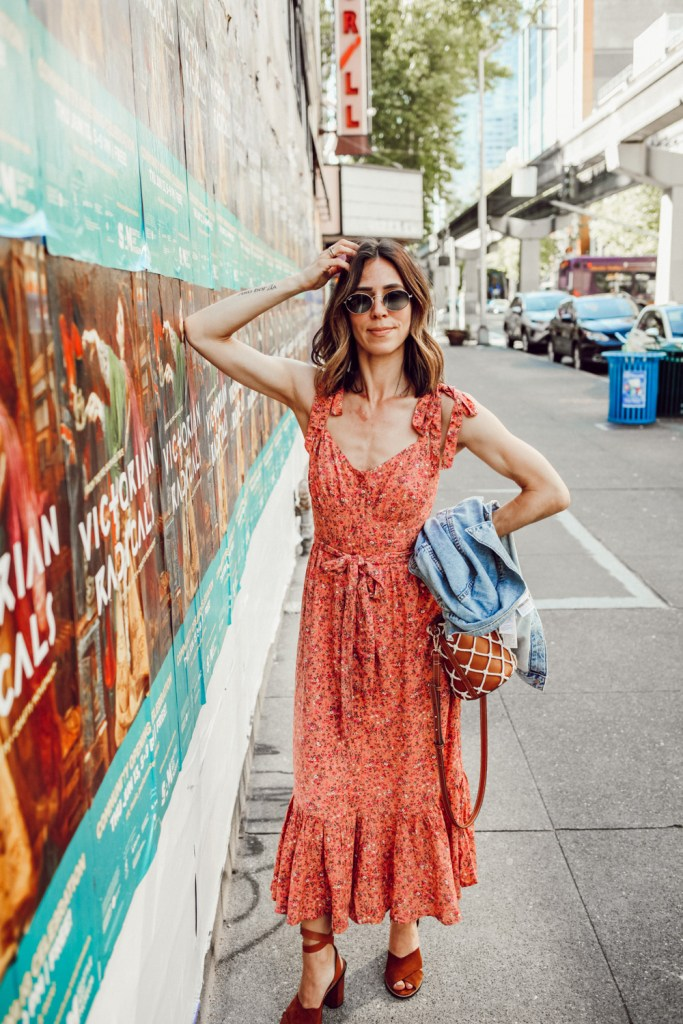 Seattle Fashion Blogger Sportsanista wearing Button-front midi dress with ruffle hem in soft rayon for summer