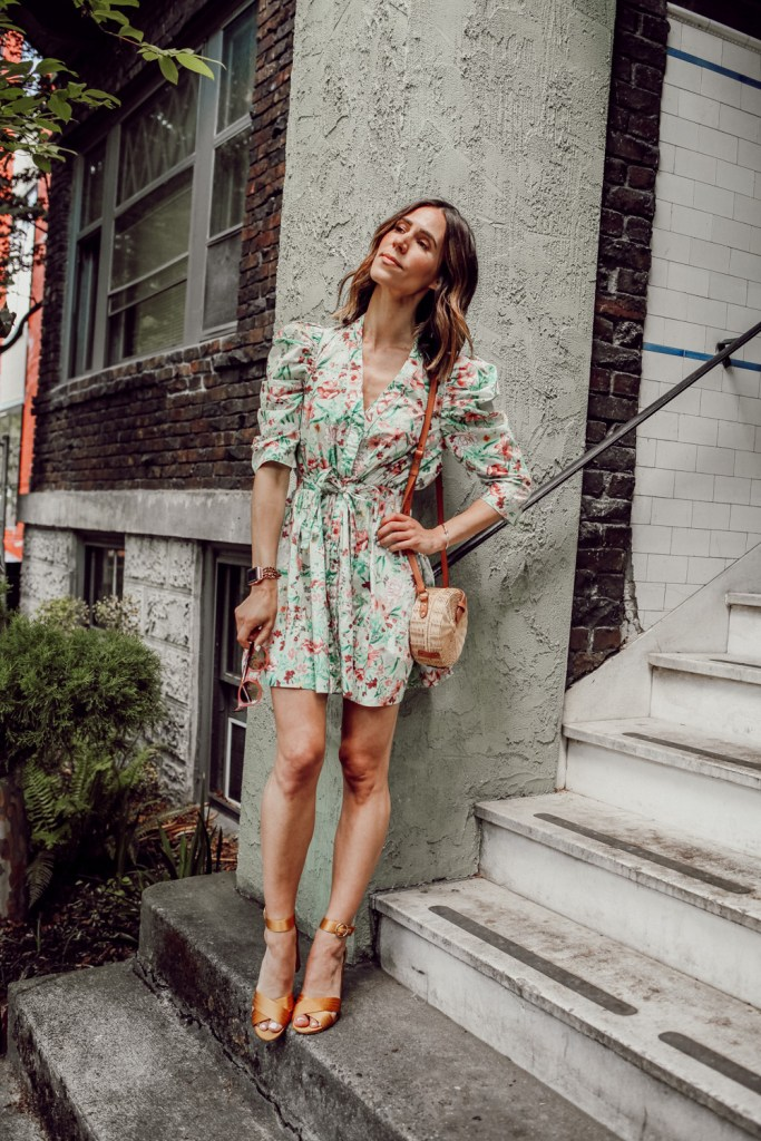 Seattle Fashion Blogger Sportsanista wearing Ronny Kobo floral dress and Rattan bag for summer inspired look