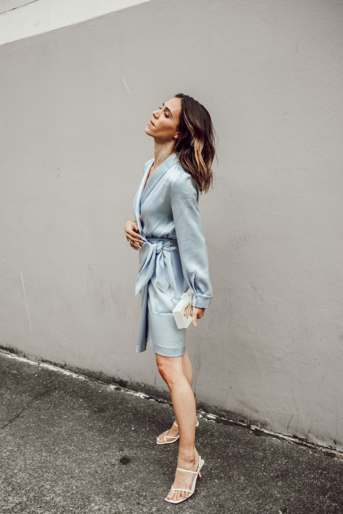 Short Hair Bayalage and Ice Blue Satin Dress