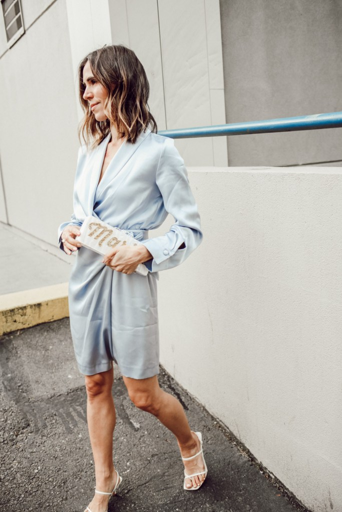Seattle Fashion Blogger Sportsanista wearing Nanushka Siwa Dress and Milan Block Acrylic Clutch
