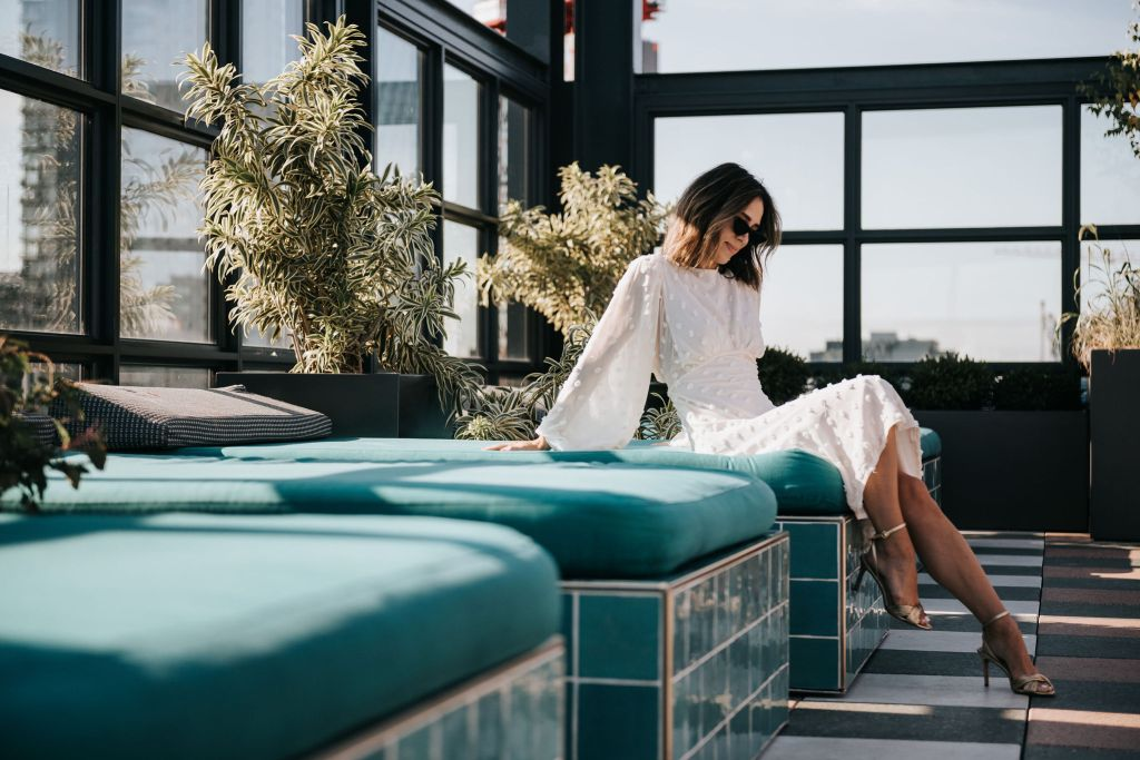 Seattle Blogger Sportsanista sharing favorite Chicago Rooftop and wearing Cotton Candy Sheer Maxi Dress in Cream