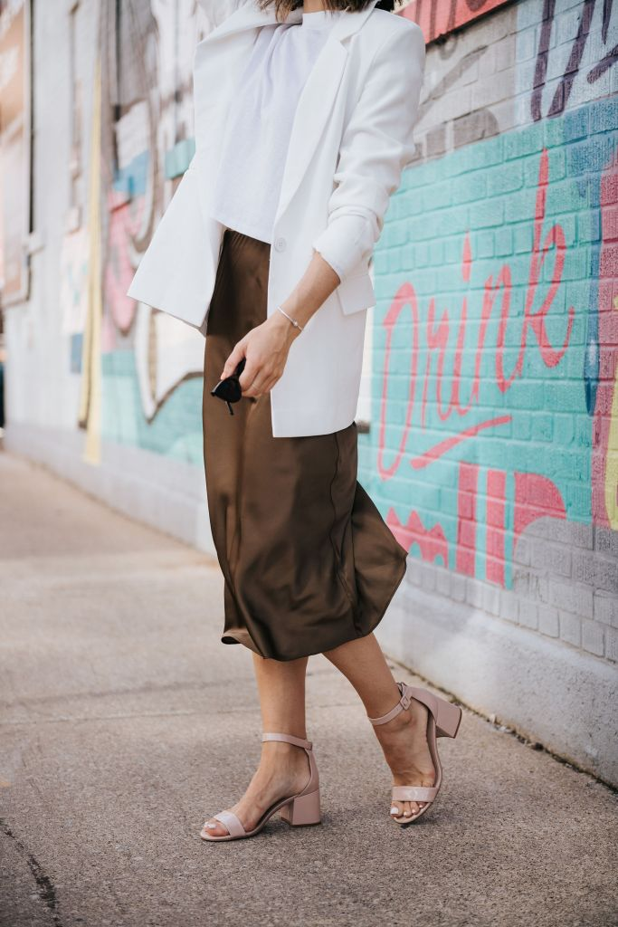 Fashion Blogger Sportsanista wearing slip skirt and nude sandals from Amazon