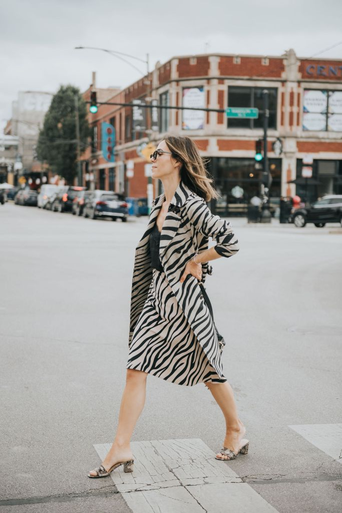 Fashion Blogger Sportsanista wearig Zebra Print trench coat and Zebra Print skirt from Ann Taylor