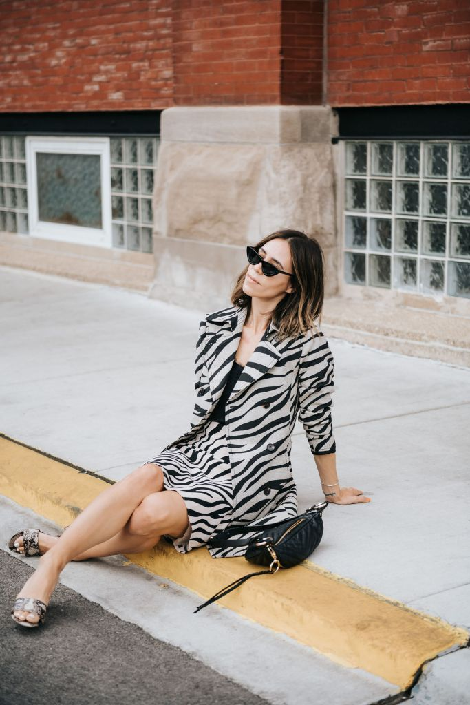 Fashion Blogger Sportsanista wearing Zebra Print Trench Coat and Snakeskin Mules for workwear inspired look