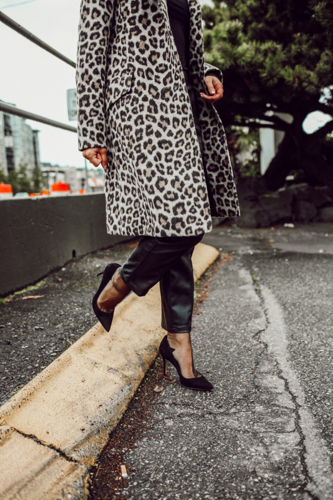 Sportsanista wearing Brush Leopard Coat with Faux Leather Pants, Sheer Socks and Black Suede Pumps