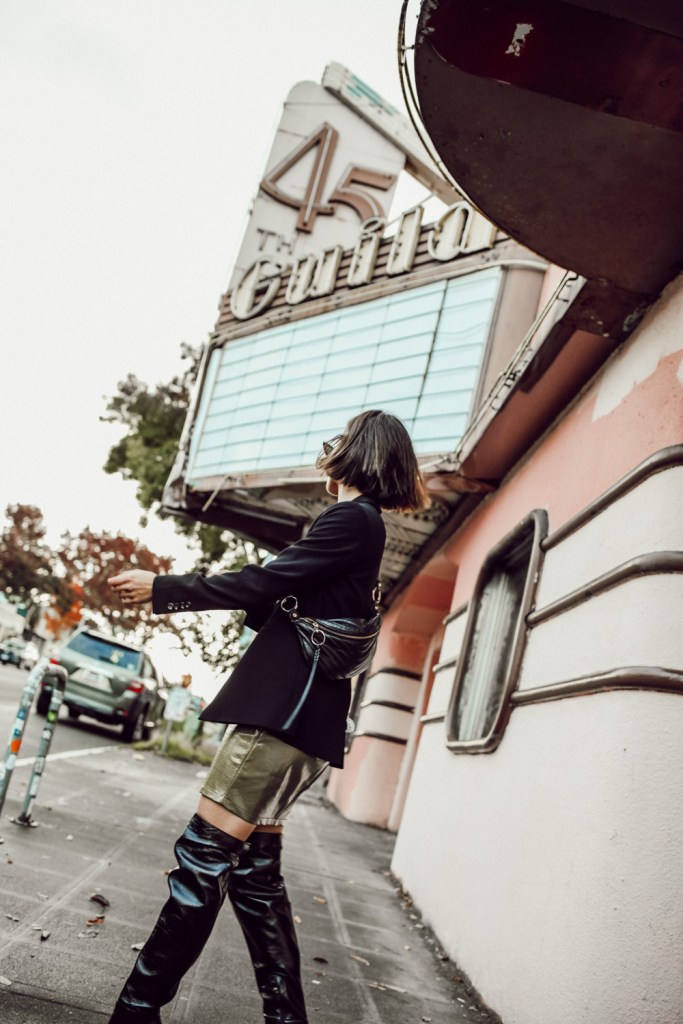 Seattle Blogger Sportsanista wearing Ann Taylor Oversized Blazer and Olive Vinyl Skirt for Fall Fashion Look