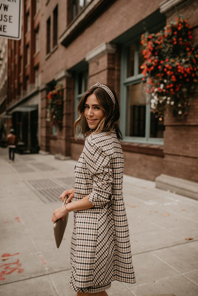Seattle Blogger Sportsanista wearing Ann Taylor Classic Plaid Coat and Knot Headband