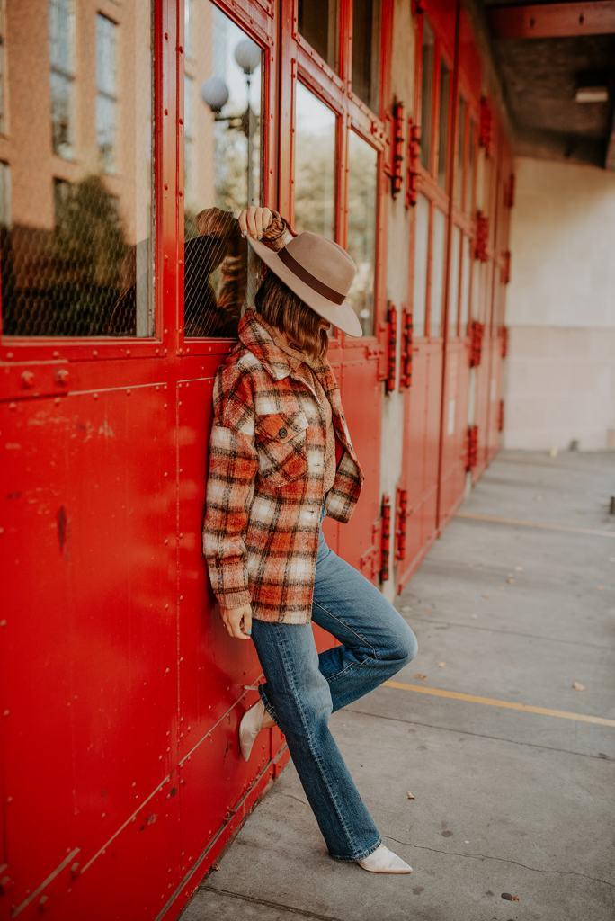MKT Plaid Oversized Jacket, Wool Flat Brim Hat, Levi's Rib Cage Denim