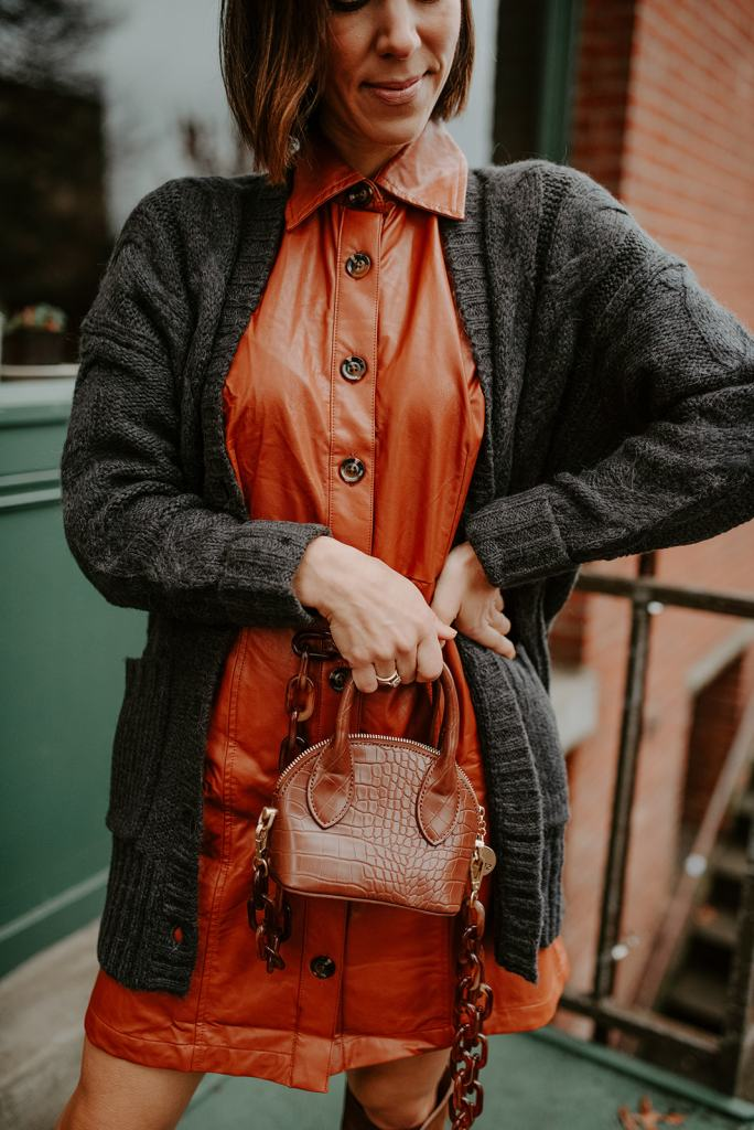 Blogger Mary Krosnjar wearing Who What Wear Faux Leather Dress and J.Crew Oversized Cardigan