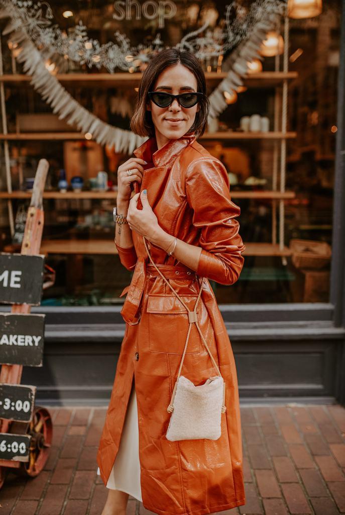 BLogger Mary Krosnjar wearing Vinyl Trench Coat and Cat Eye Sunglasses