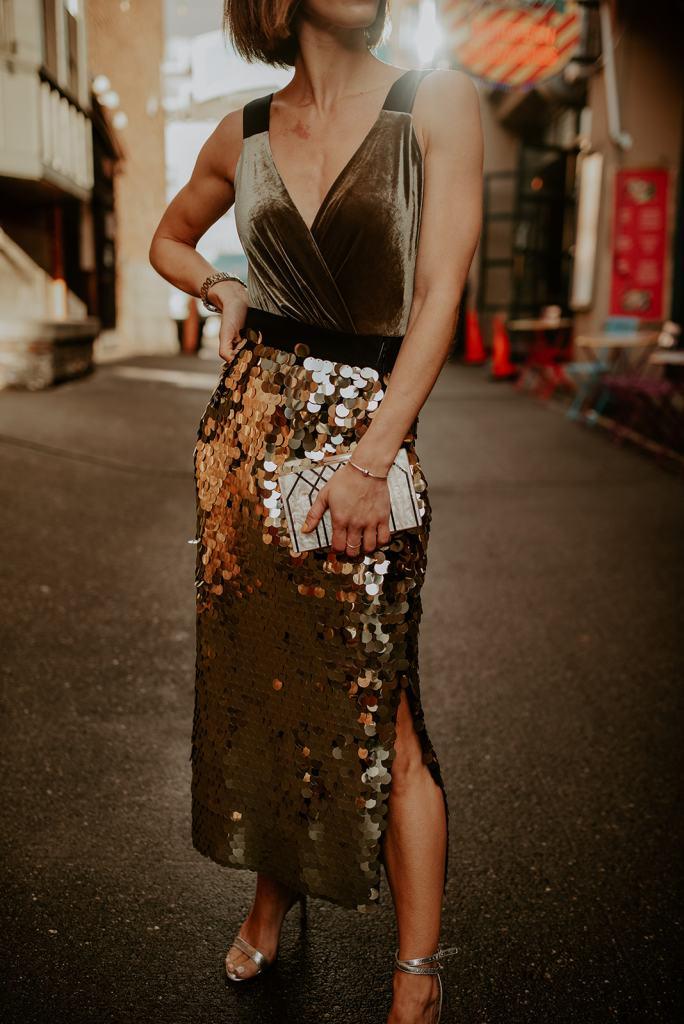 Blogger Mary Krosnjar Bailey 44 Velvet Top and French Connection Sequin Skirt