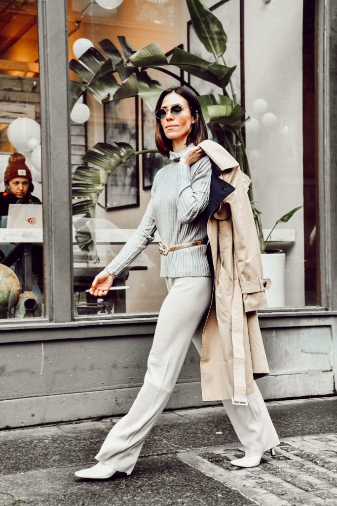 Naadam Knitwear for Spring, Blogger Mary Krosnjar wearing Naadam Knitwear look