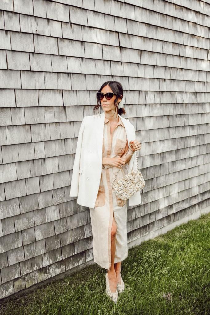 Blogger Mary Krosnjar wearing Steele Women's Keegan Dress and Zara Oversized Blazer