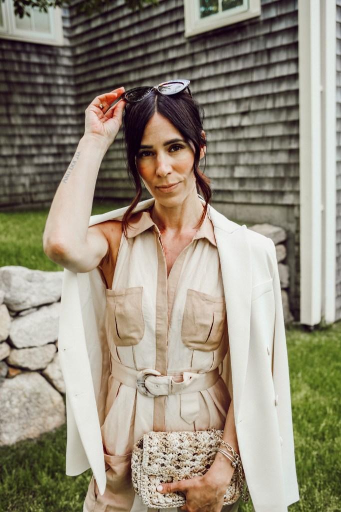 Seattle Fashion Blogger Mary Krosnjar wearing Neutral Utility Midi Dress in Safari Style