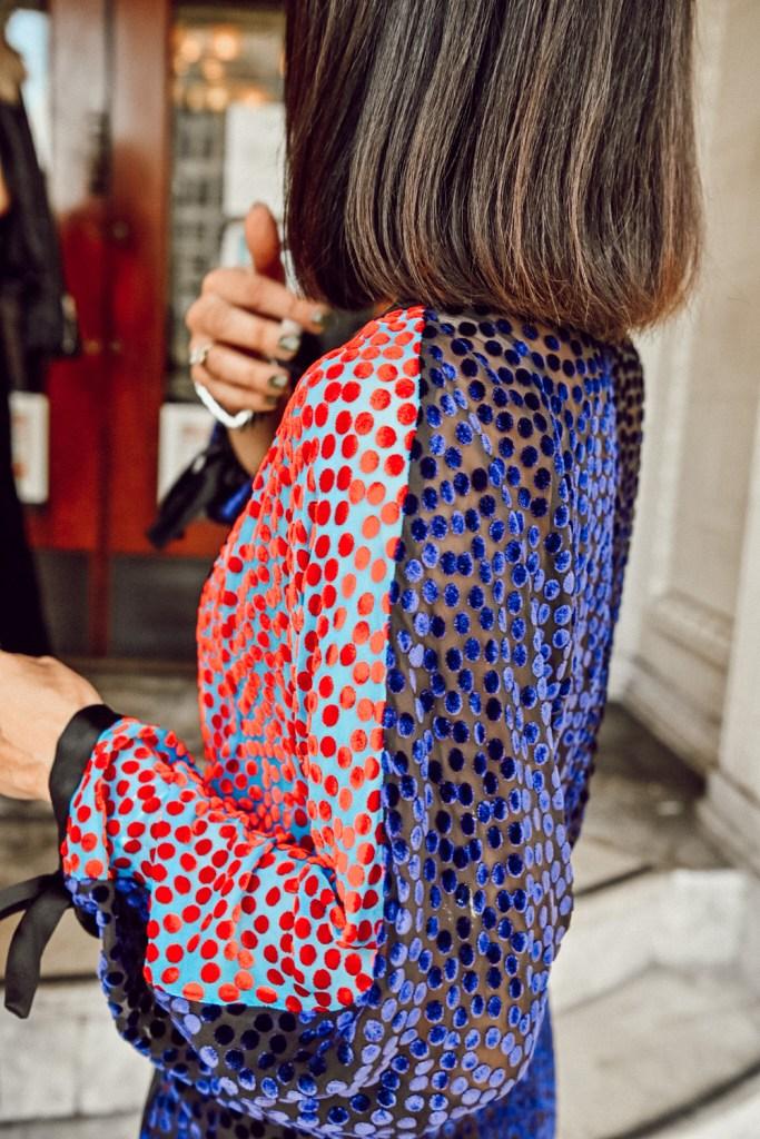 blogger Mary Krosnjar wearing velvet dress for holidays