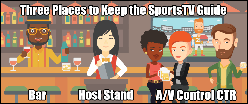 Stash the SportsTV Guide where it'll help your staff.