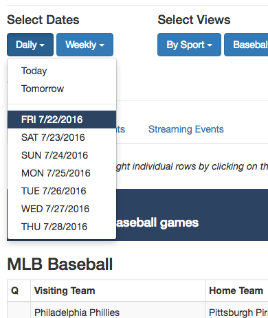The SportsTV Guide lets users view their guide by day or date range.