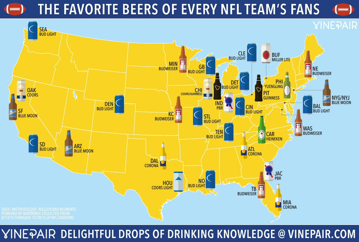 NFL fans favorite beer map