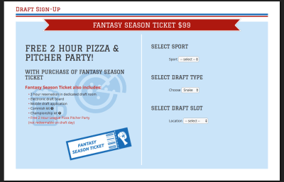 The Post Sports Bar & Grill's fantasy draft part package