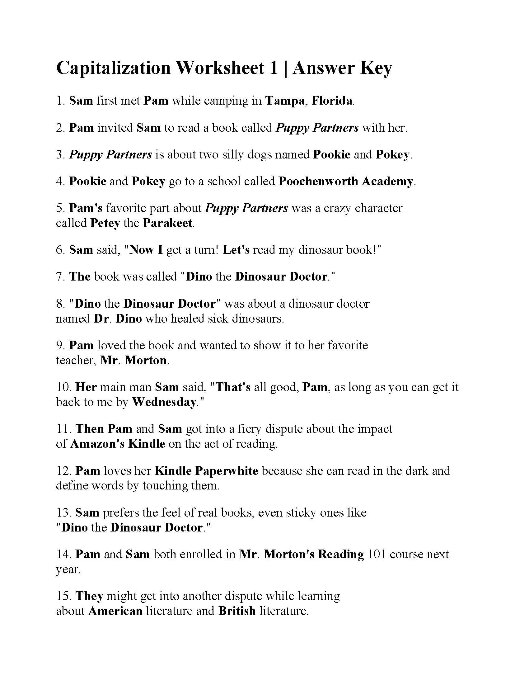 20 First Grade Capitalization Worksheets