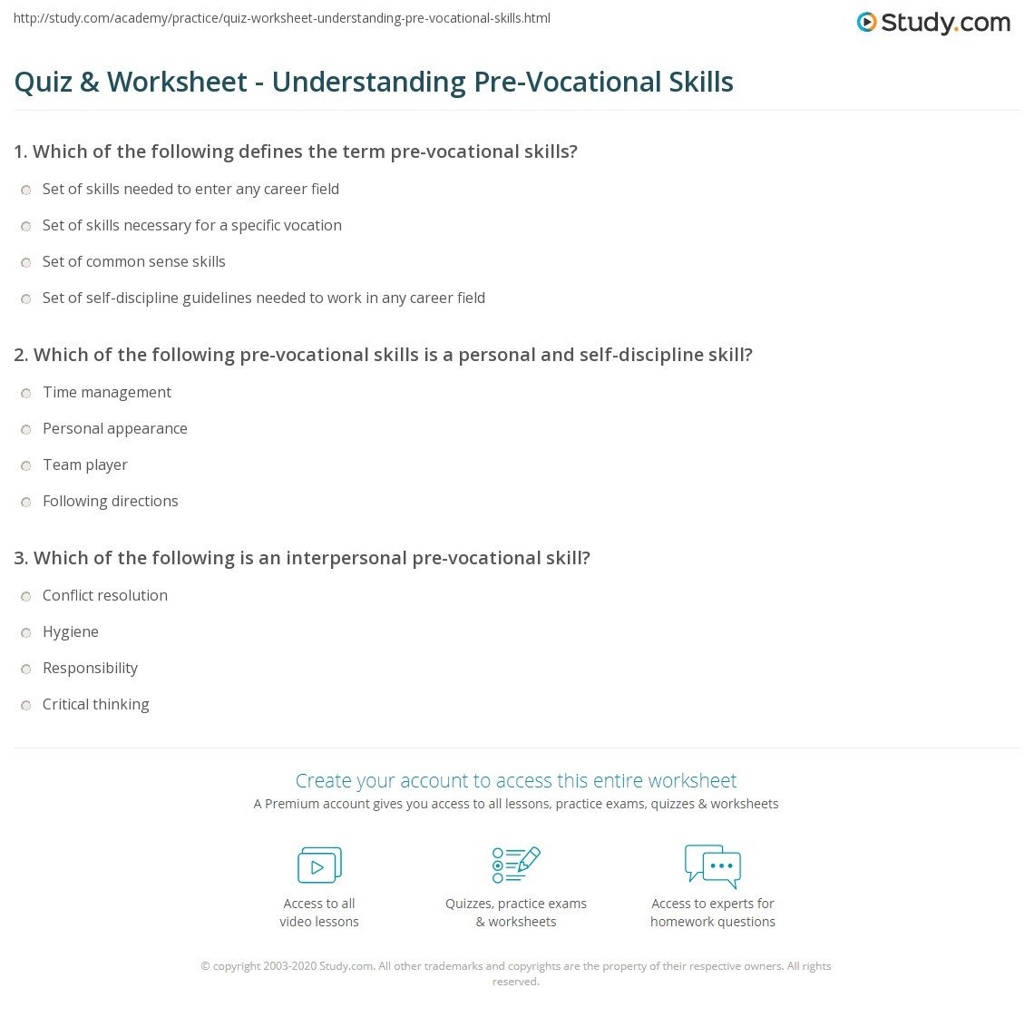 20 Pre Vocational Skills Worksheets