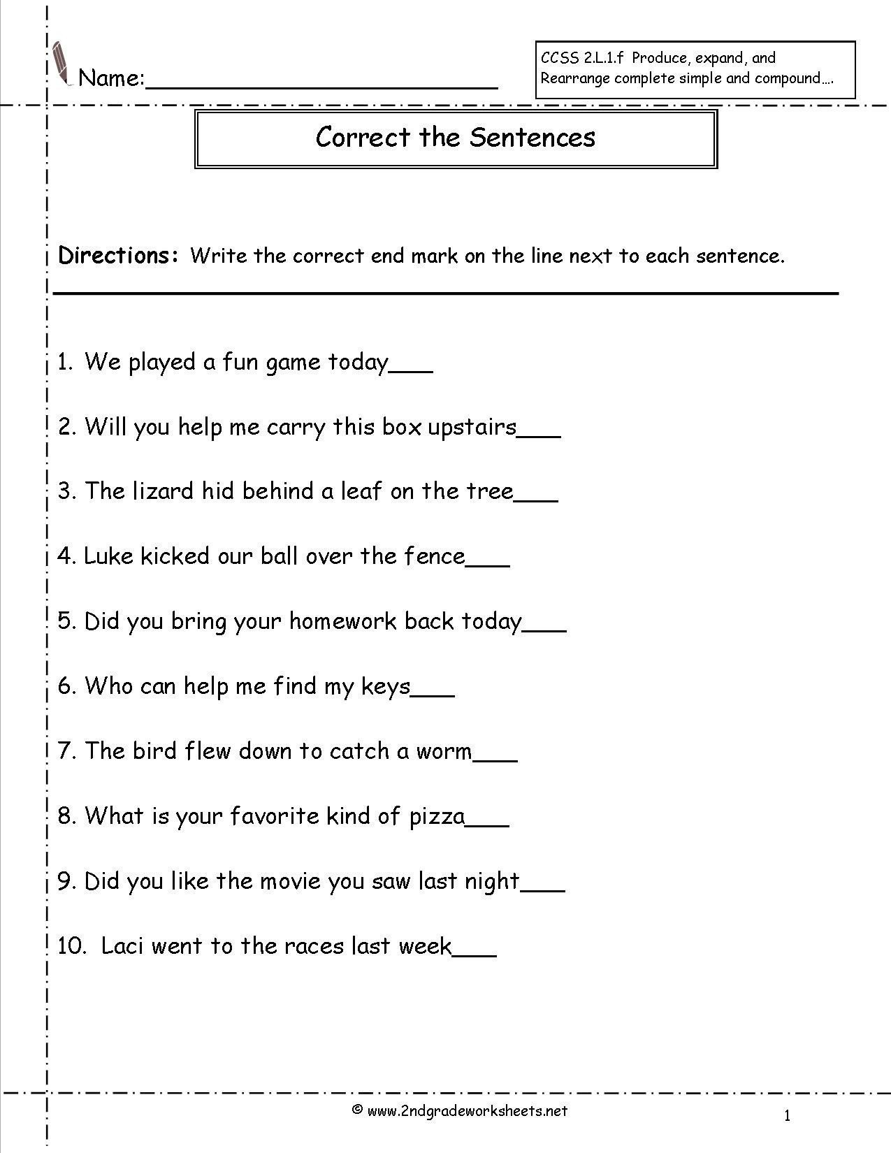 20 Subject Predicate Worksheet 2nd Grade