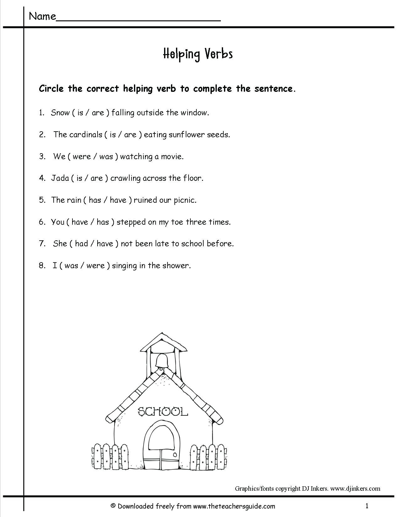 20 Verbs Worksheet 4th Grade