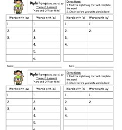 Ou Diphthong Worksheet   Printable Worksheets and Activities for Teachers [ 1800 x 1391 Pixel ]