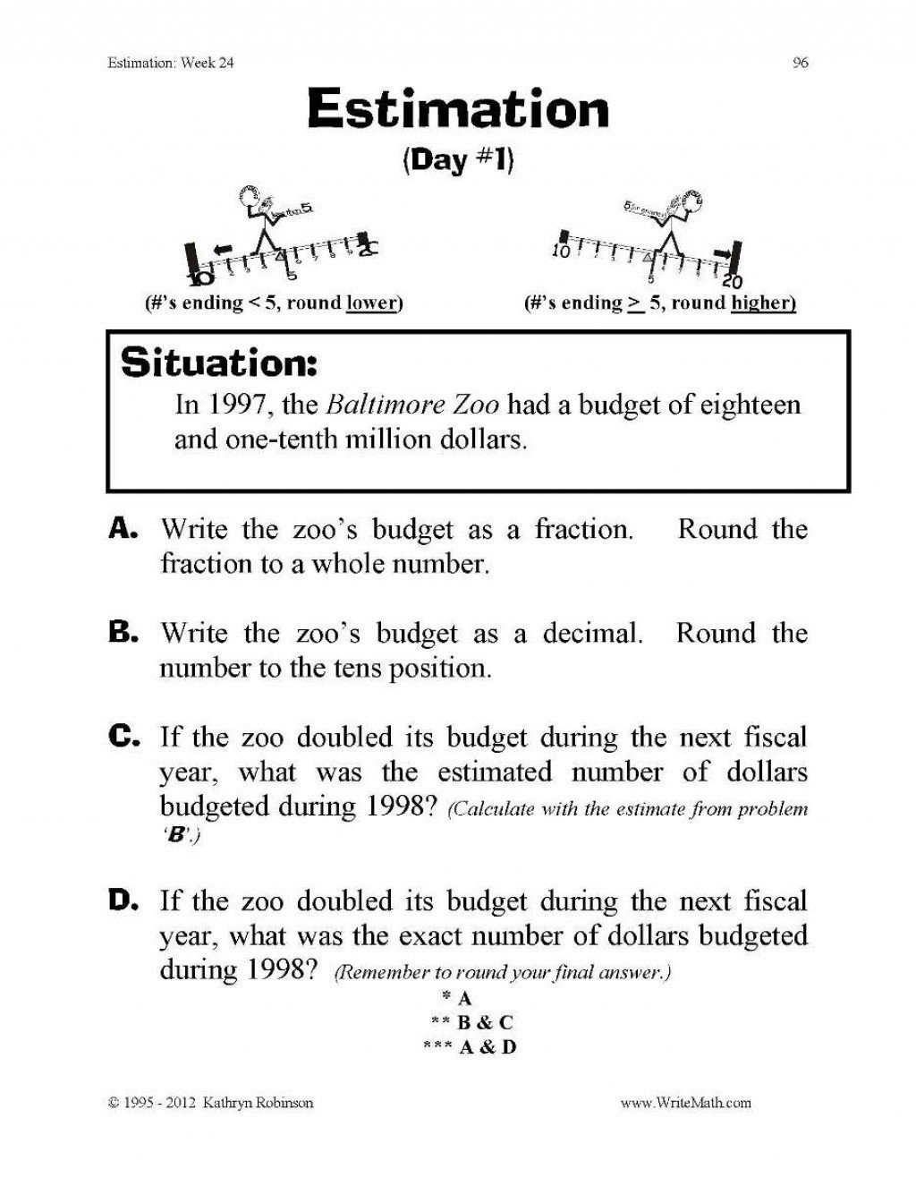 20 Compatible Numbers Worksheet 5th Grade