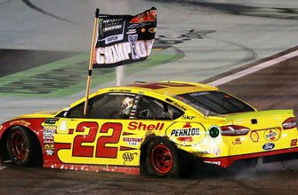 Joey Logano passes Martin Truex Jr. to win the 2018 Monster Energy NASCAR Cup Series championship