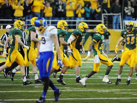 North Dakota State Celebrates Their Win Over South Dakota State (Joe Ahlquist / Argus Leader)