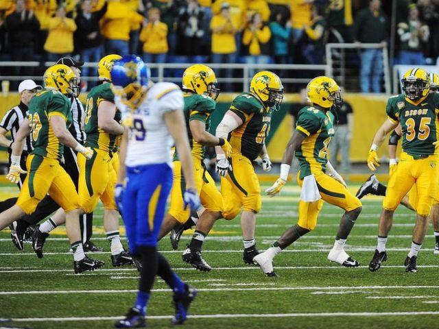 North Dakota State Celebrates Their Win Over South Dakota State (Joe Ahlquist / Argus Leader)