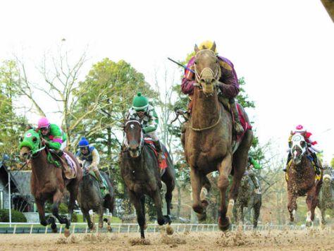 Far Right (maroon silks) won the Smarty Jones Stakes (Coady Photography/Oaklawn Park)