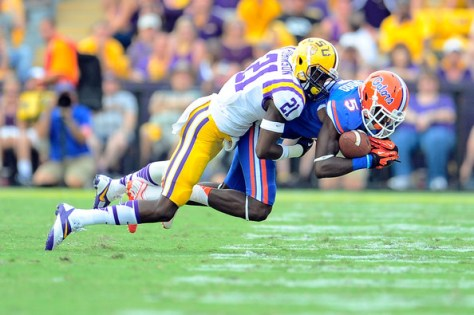 Rashard Robinson against Florida in 2013. He hopes to play for LSU again in 2016 (Stacy Revere/Getty Images North America)