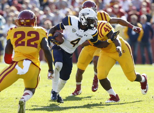 TJ Mutcherson (#22) goes to tackle Corey Jones of Toledo (David Purdy/Getty Images North America)