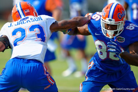 J.C. Jackson (#23 left) during spring practice on March 20, 2015 (David Bowie / GatorCountry.com)