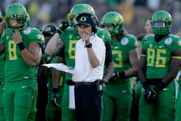 Oregon has been a perennial National Title contender since Chip Kelly's start in 2010 and has continued under Mark Helfrich (pictured above). (Ezra Shaw/Getty Images North America)