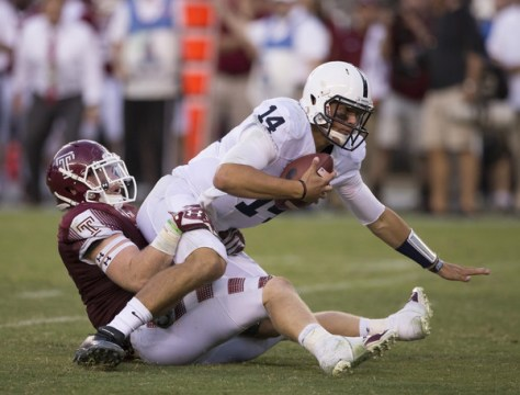 It was not a good day for Christian Hackenberg and Penn State in their opening game. (Mitchell Leff/Getty Images North America)