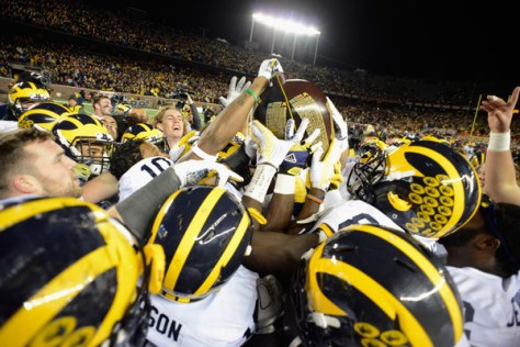 Michigan needed a goal line stop to win the Little Brown Jug (Hannah Foslien/Getty Images North America)