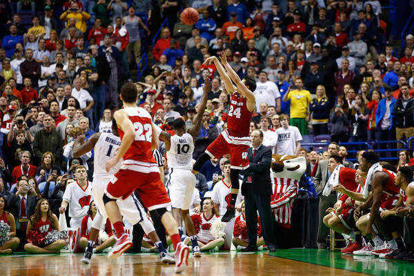 Bronson Koenig's buzzer beating three pointer defeated Xavier to cap an incredible opening four days of the 2016 NCAA Basketball Tournament. (Jamie Squire/Getty Images North America)